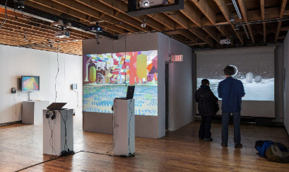 Installation shot of Vector Festival 2014, InterAccess, Toronto