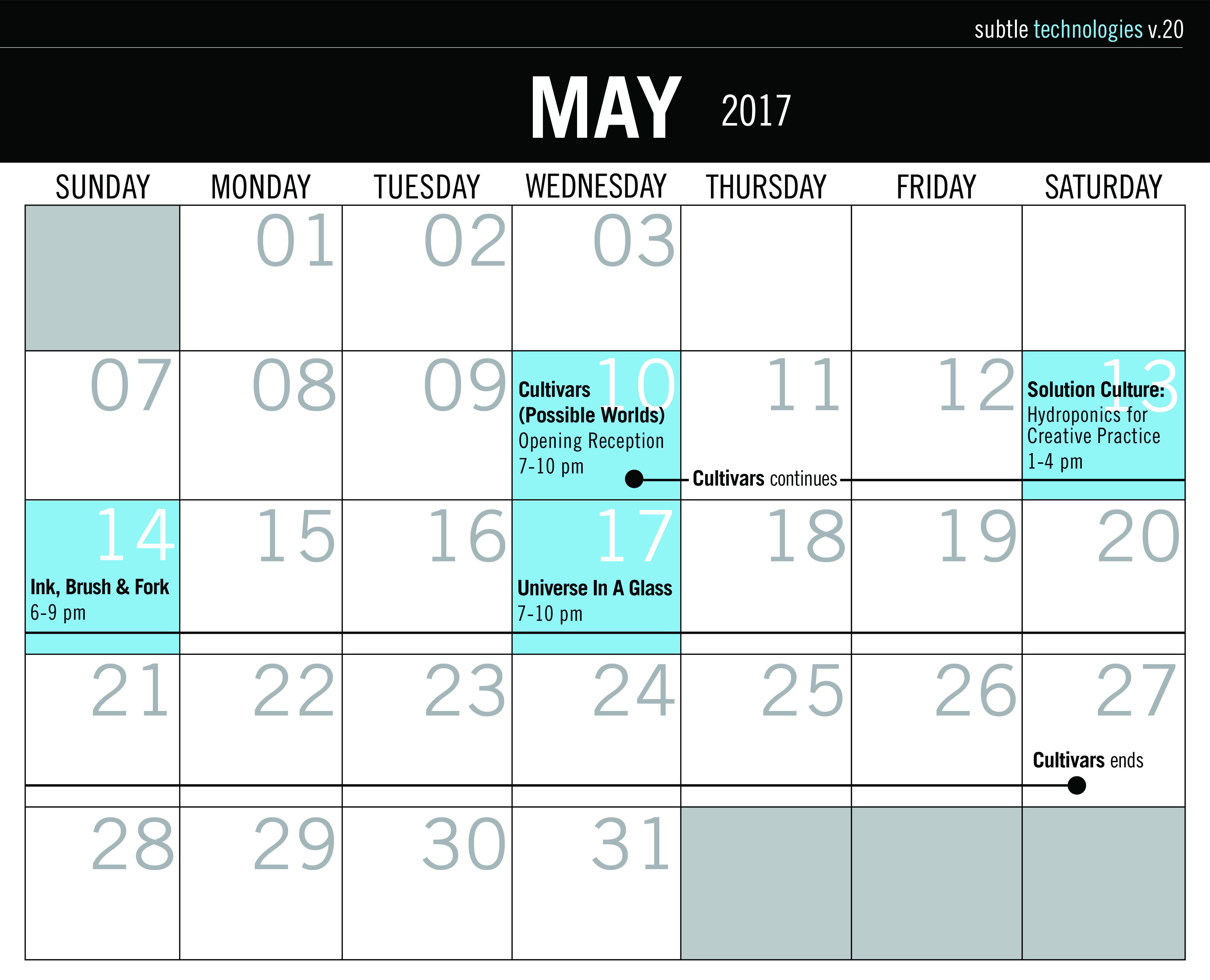 Calendar View May : Calendar subtle technologies